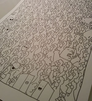 The drawing is finished. So many chickens!