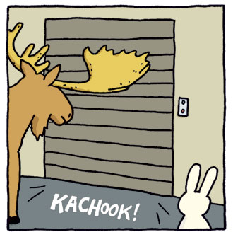 Kachook! The sound of a garage door closing.