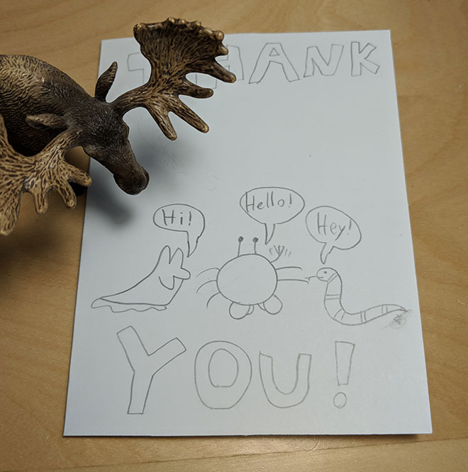 Thanks for the thank-you card, Sophia! Featuring Slug, Crab, and Snake :)