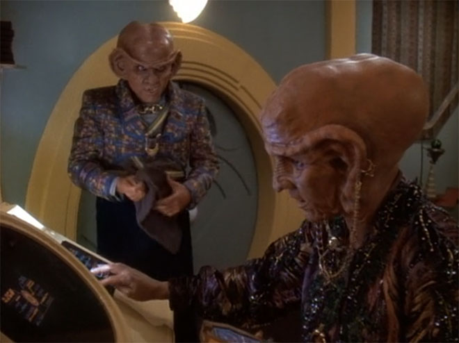 Ferengi homes have this weird stack of towels by the door, for drying off your lobes after coming in from the rain.