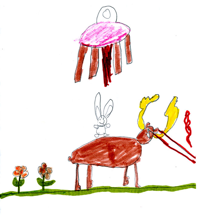 """Laser Moose and Rabbit Boy, and the alien ship from the """"Invaders"""" story!"""