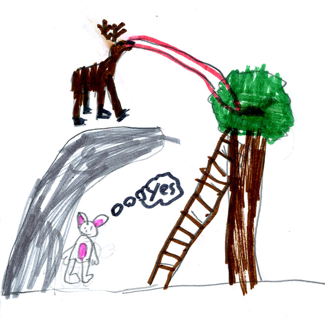 Is Laser Moose destroying somebody's tree house? I'm not sure what's going on here, but I like it!