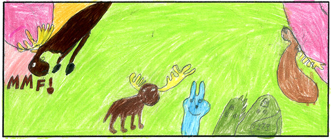 Laser Moose and Rabbit Boy help the aliens. I really like the nice bright colors here.